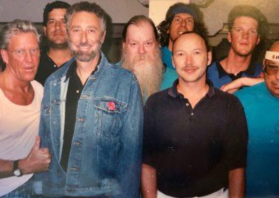 "1995: Rear L-R: Peter Chiang, Bernie, Stephen Pollard (Club Secretary), Scott Burson (our first National Champ) and David Rudesill. Front: Mike Hite, Lew Weinstein, Hans Nielsen, Richard (""Willie"") Williams (Club President)."