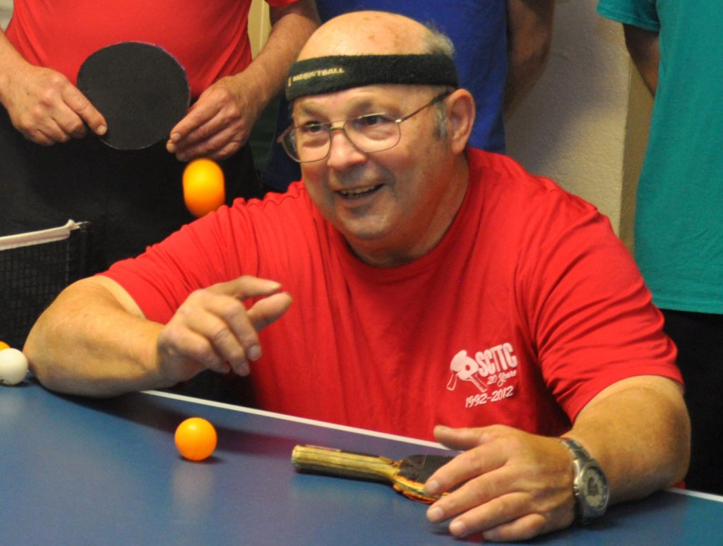 Willie at a ping pong table
